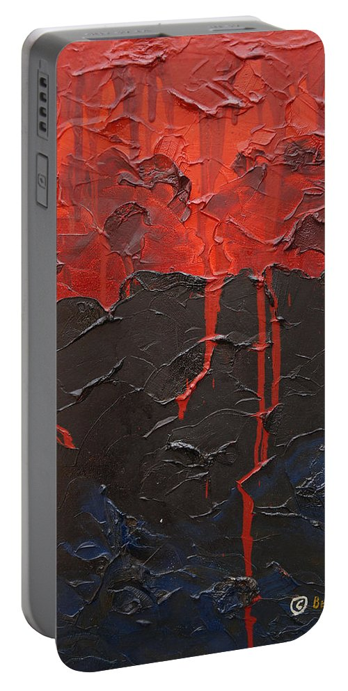 Fantasy Portable Battery Charger featuring the painting Bleeding Sky by Sergey Bezhinets