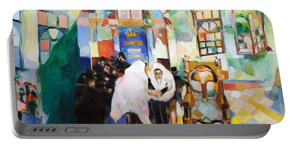 Portable Battery Charger featuring the painting Blessed Is He Who Has Come by David Baruch Wolk