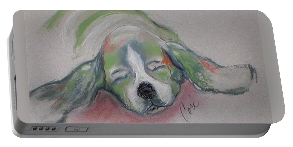 Basset Hound Portable Battery Charger featuring the drawing Blissful Dreams IIi by Cori Solomon
