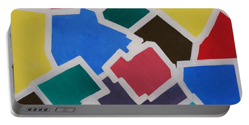 Acrylic Portable Battery Charger featuring the painting Outside the Box by Sergey Bezhinets