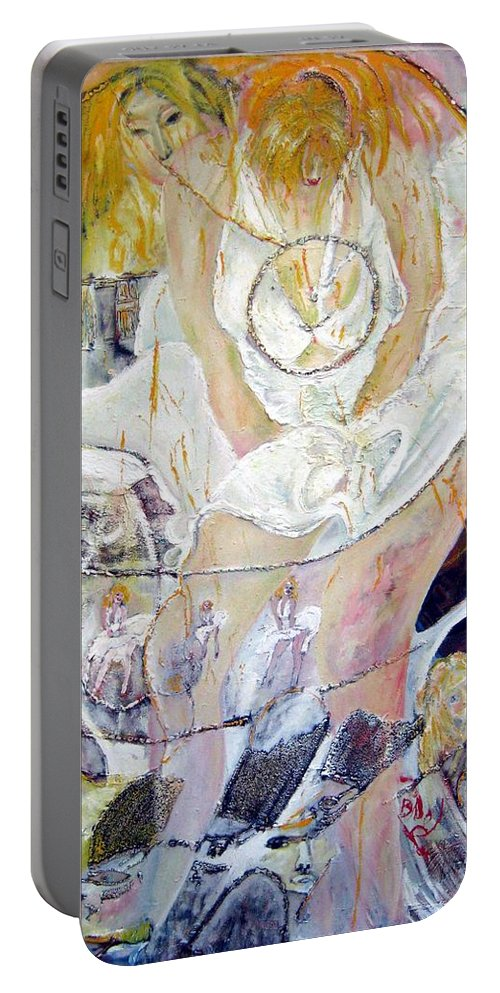Figurative Portable Battery Charger featuring the painting Blondie  by Peggy Blood