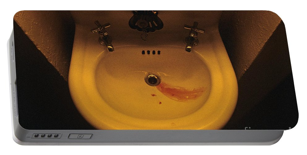 Night Portable Battery Charger featuring the photograph Blood In Sink by Jim Corwin