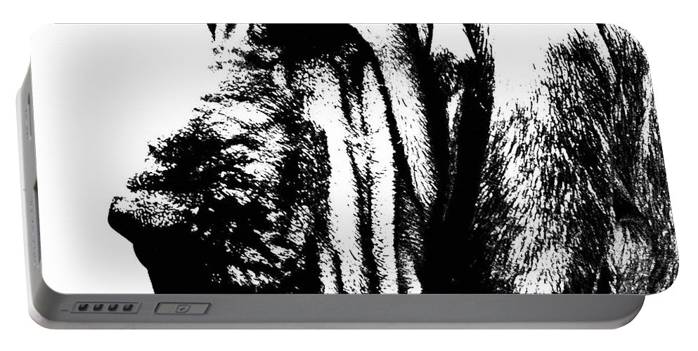 Bloodhound Portable Battery Charger featuring the painting Bloodhound - It's Black And White - By Sharon Cummings by Sharon Cummings