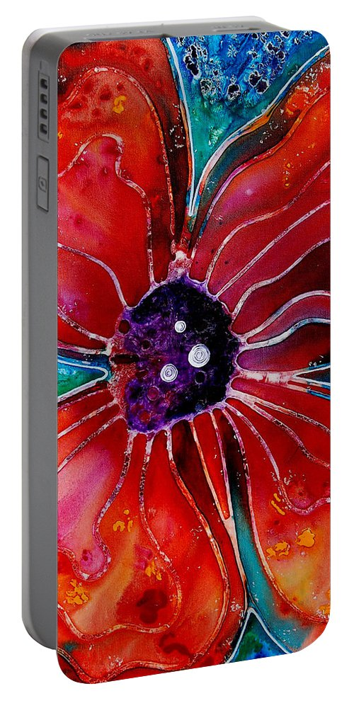 Poppy Art Portable Battery Charger featuring the painting Bloom by Sharon Cummings