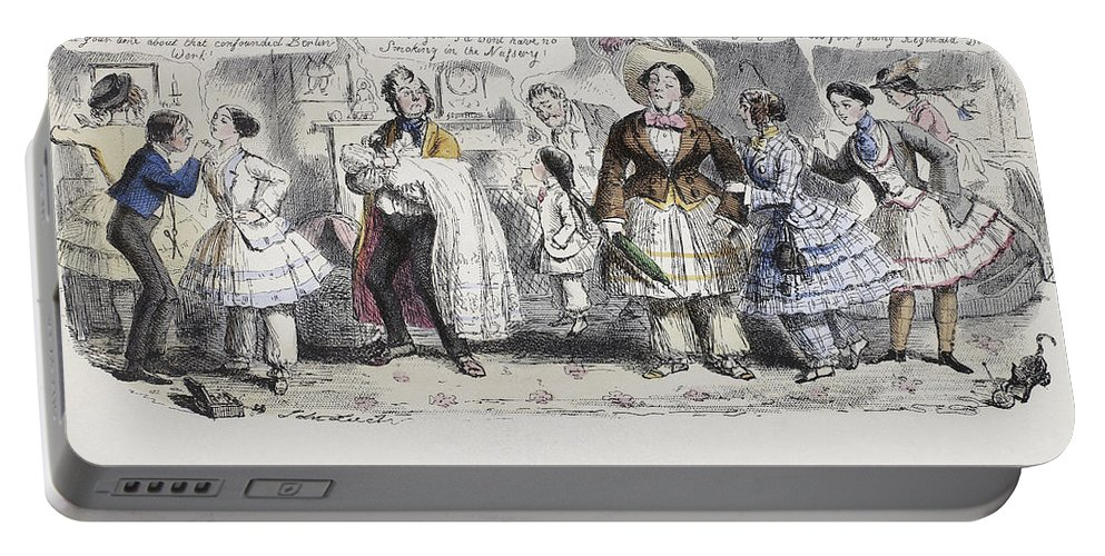 1851 Portable Battery Charger featuring the painting Bloomer Cartoon, C1851 by Granger