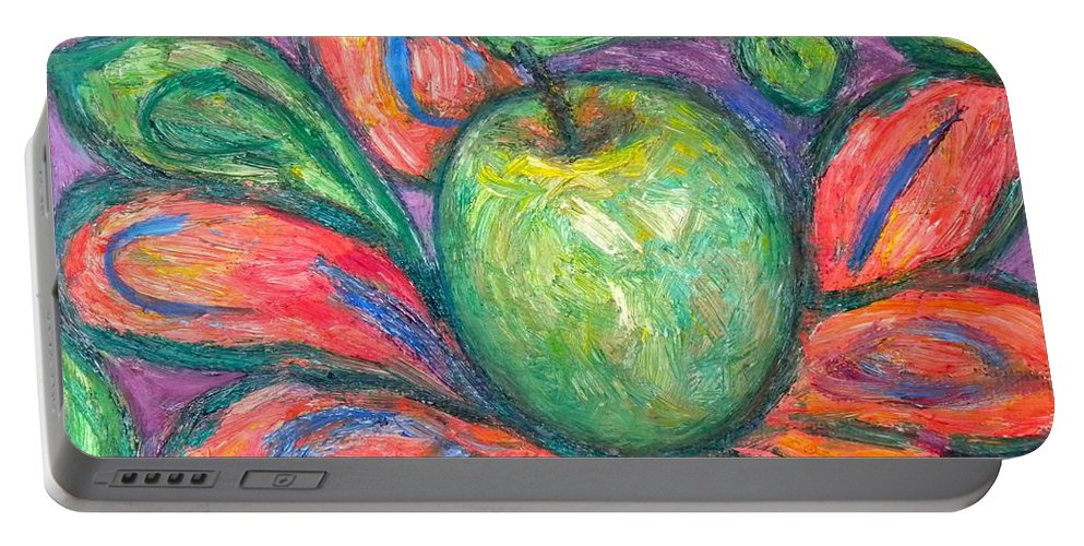Apple Paintings Portable Battery Charger featuring the painting Blooming Apple by Kendall Kessler