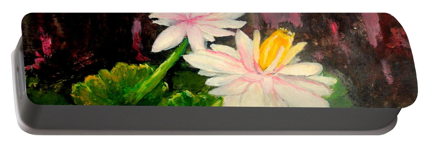 Home Yard Portable Battery Charger featuring the painting Blooming At Night by Jason Sentuf