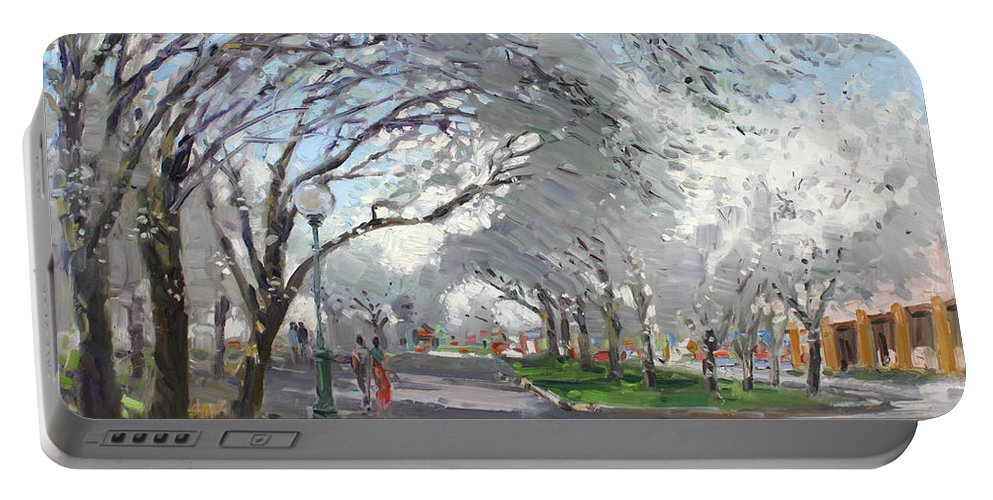Blooming Trees Portable Battery Charger featuring the painting Blooming In Niagara Park by Ylli Haruni