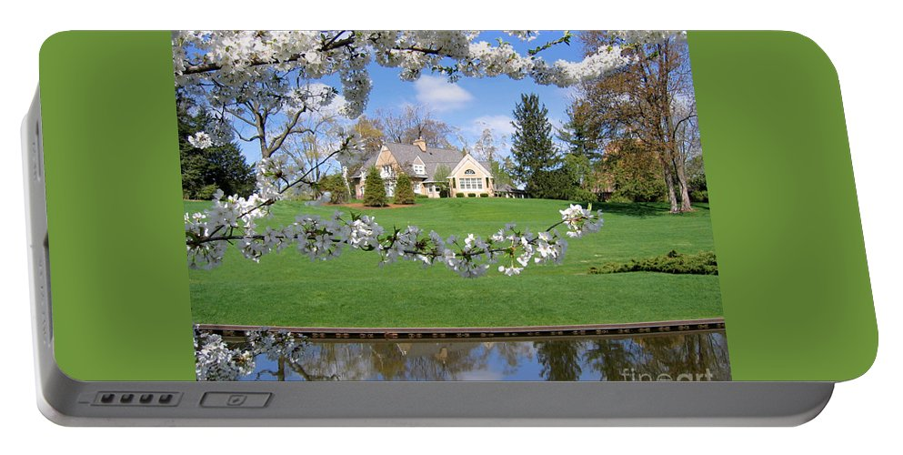 Spring Portable Battery Charger featuring the photograph Blossom-framed House by Ann Horn