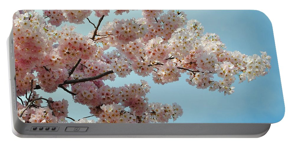 Cherry Portable Battery Charger featuring the photograph Blossom Sky by Jost Houk