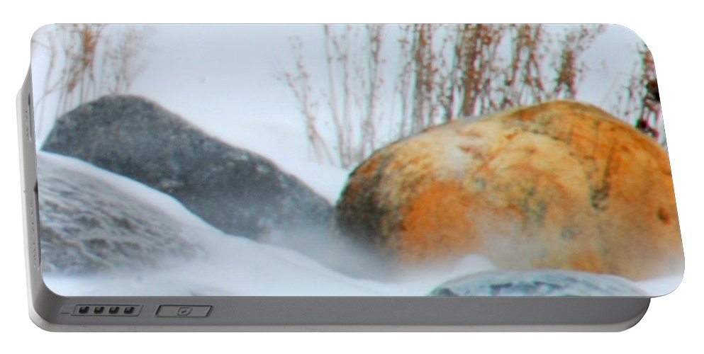 Blowing Snow Portable Battery Charger featuring the photograph Blowing Snow And Rocks by Optical Playground By MP Ray