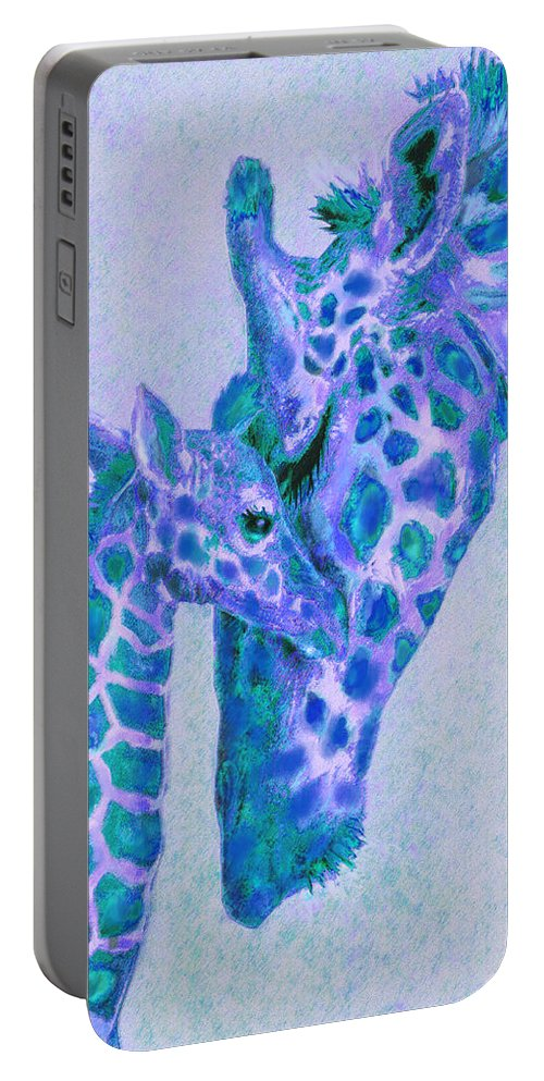 Giraffes Portable Battery Charger featuring the digital art Blue And Aqua Giraffes by Jane Schnetlage
