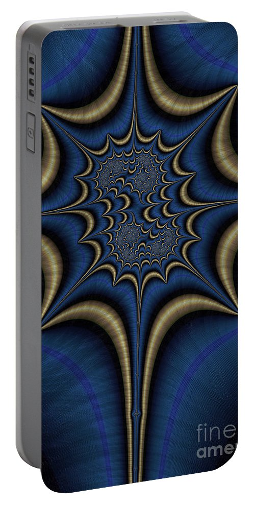 Green Malachite Portable Battery Charger featuring the digital art Blue And Gold Abstract by John Edwards