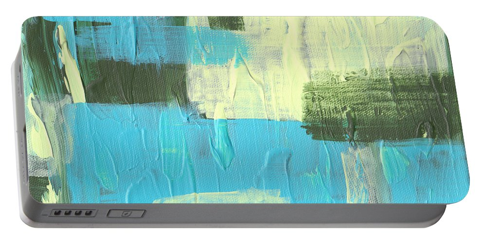 Blue Portable Battery Charger featuring the painting Blue And Green Abstract by Paulette B Wright
