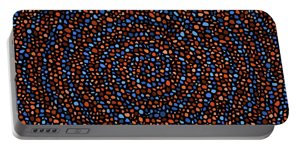 Blue Portable Battery Charger featuring the digital art Blue And Orange Circles by Janice Dunbar
