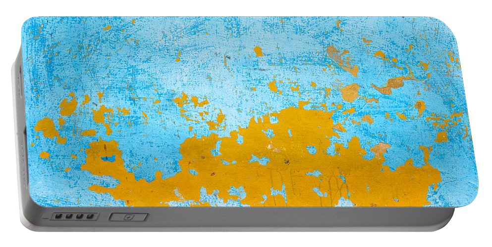 Wall Portable Battery Charger featuring the photograph Blue And Orange Wall Texture by Dutourdumonde Photography