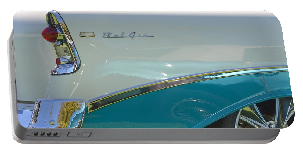 Car Portable Battery Charger featuring the photograph Blue And White Bel Air Convertable by Dean Ferreira