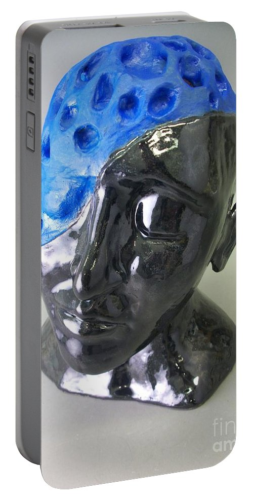 Blue Portable Battery Charger featuring the sculpture Blue by Anthony George