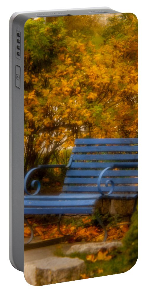 Vacationland Portable Battery Charger featuring the photograph Blue Bench - Autumn - Deer Isle - Maine by David Smith