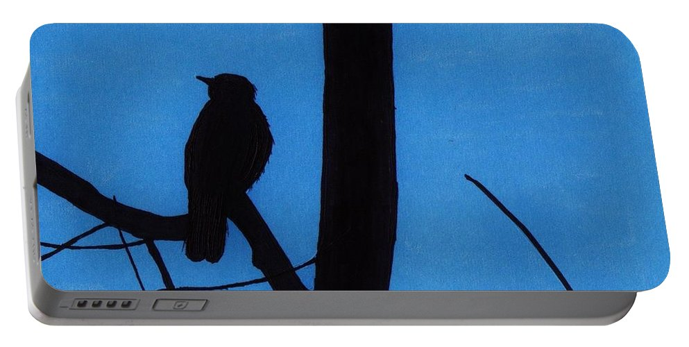 Bird Portable Battery Charger featuring the drawing Blue - Silhouette - Bird by D Hackett