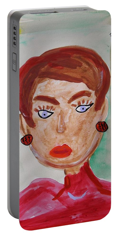 Blue Blue Eyes Portable Battery Charger featuring the painting Blue Blue Eyes by Mary Carol Williams