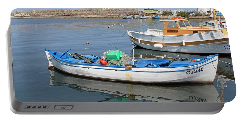 Blue Boat Portable Battery Charger featuring the photograph Blue Boat In Sozopol Harbour by Tony Murtagh