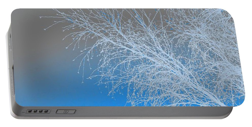Blue Portable Battery Charger featuring the digital art Blue Branches by Carol Lynch