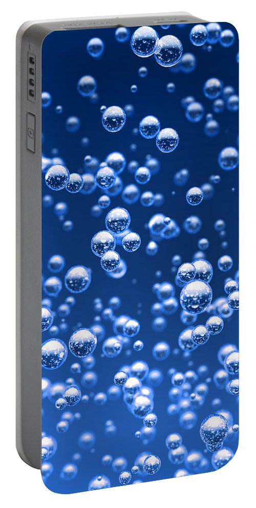 Bubble Portable Battery Charger featuring the digital art Blue bubbles by Bruno Haver