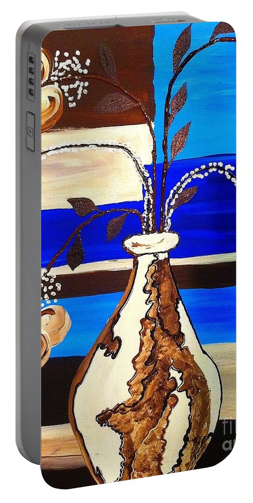 Floral Portable Battery Charger featuring the painting Blue Buds Multi Floral by Saundra Myles