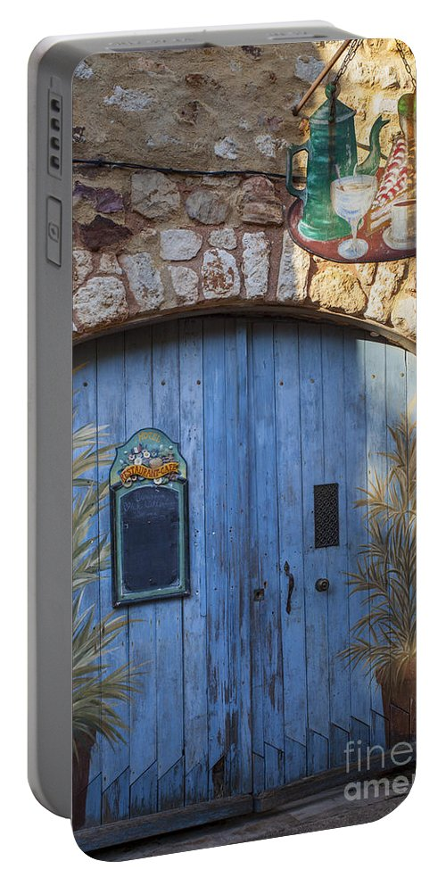 Blue Portable Battery Charger featuring the photograph Blue Cafe Doors by Brian Jannsen