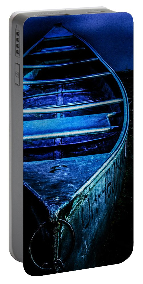 Canoe Portable Battery Charger featuring the photograph Blue Canoe by Michael Arend