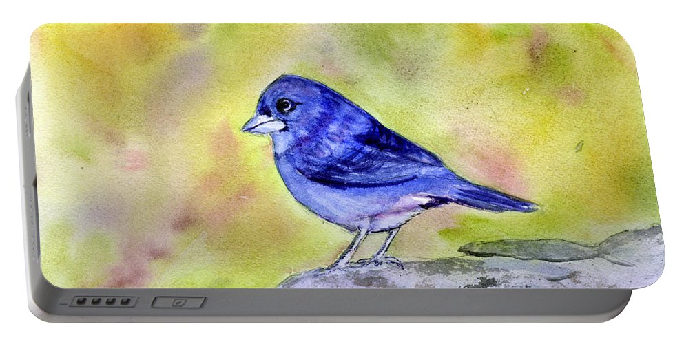 Animal Portable Battery Charger featuring the painting Blue Chaffinch by Donna Walsh