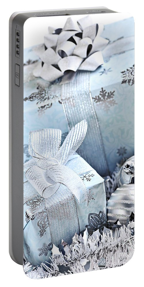 Gift Portable Battery Charger featuring the photograph Blue Christmas Gift Boxes by Elena Elisseeva