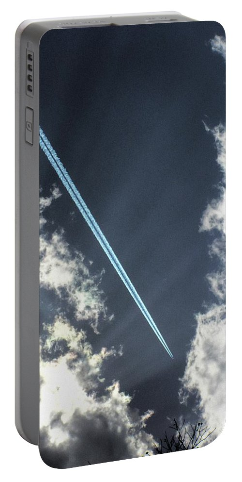 Jet Portable Battery Charger featuring the photograph Blue Contrail by Shannon Story