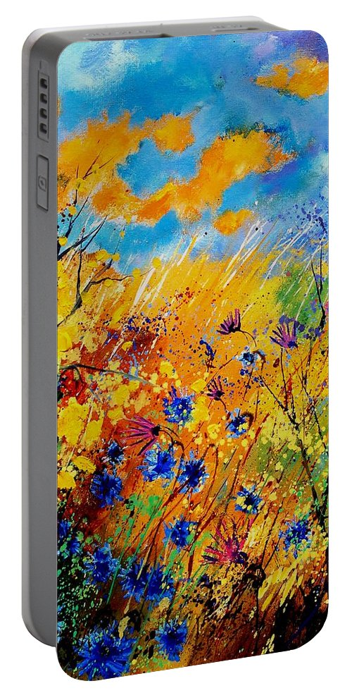 Poppies Portable Battery Charger featuring the painting Blue Cornflowers 450408 by Pol Ledent