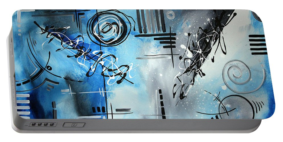 Wall Portable Battery Charger featuring the painting Blue Divinity By Madart by Megan Duncanson