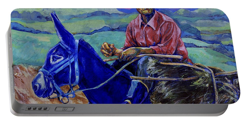 Donkey Portable Battery Charger featuring the painting Blue Donkey by Derrick Higgins