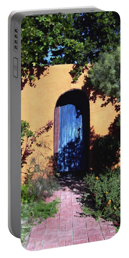Blue Door Portable Battery Charger featuring the photograph Blue Door At Old Mesilla by Kurt Van Wagner