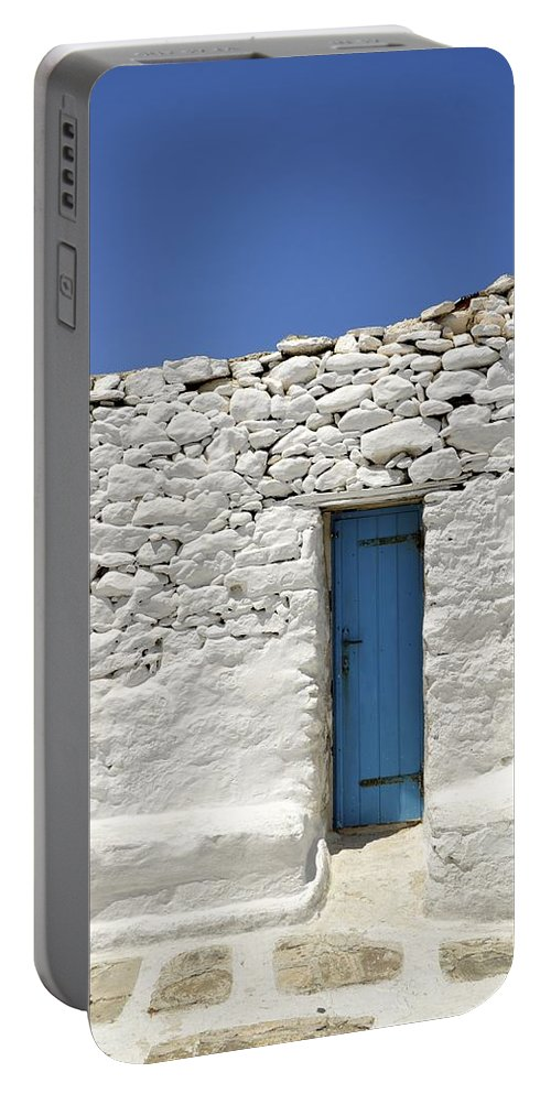 Door Portable Battery Charger featuring the photograph Blue Door by Corinne Rhode