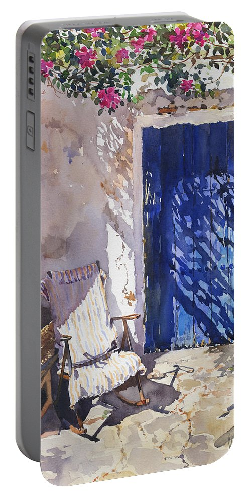 Blue Door Portable Battery Charger featuring the painting Blue Door by Margaret Merry