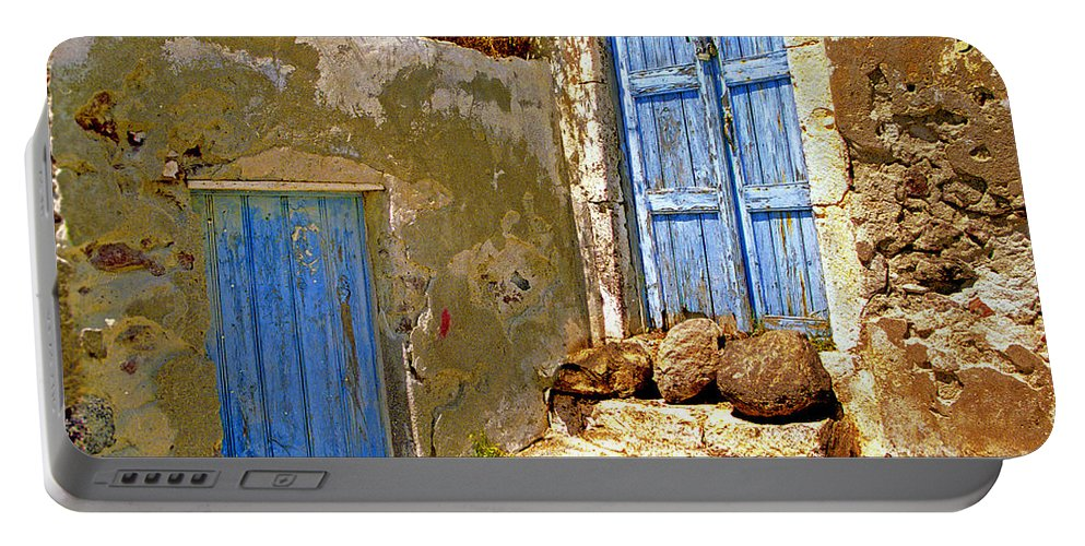 Greece Portable Battery Charger featuring the photograph Blue Doors Of Santorini by Madeline Ellis