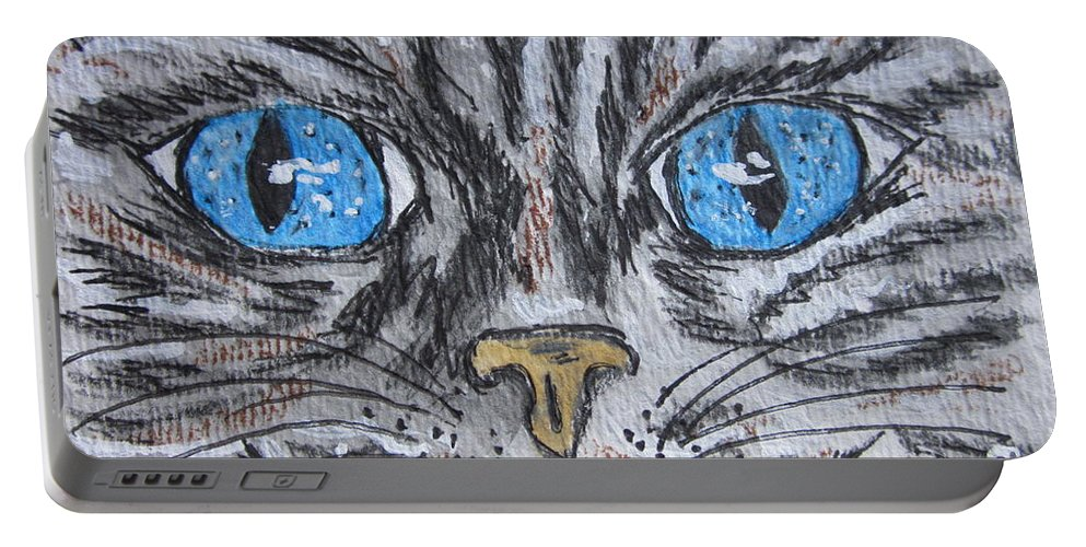 Blue Eyes Portable Battery Charger featuring the painting Blue Eyed Stripped Cat by Kathy Marrs Chandler