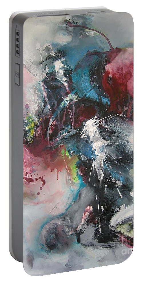 Abstract Paintings Portable Battery Charger featuring the painting Blue Fever8 by Seon-Jeong Kim