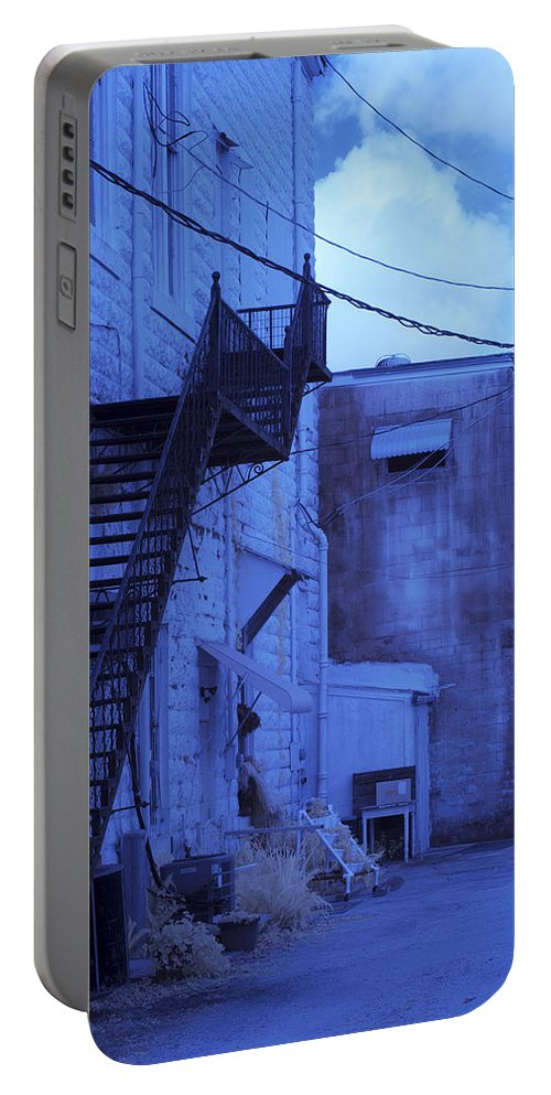 Vertical Portable Battery Charger featuring the photograph Blue Fire Escape Usa Near Infrared by Sally Rockefeller