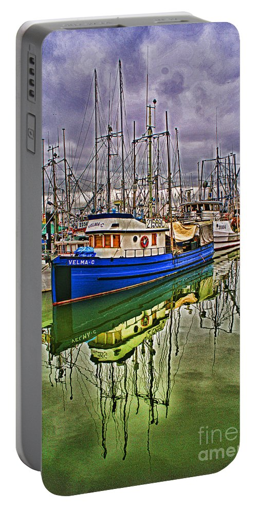 Boats Portable Battery Charger featuring the photograph Blue Fishing Boat Hdr by Randy Harris