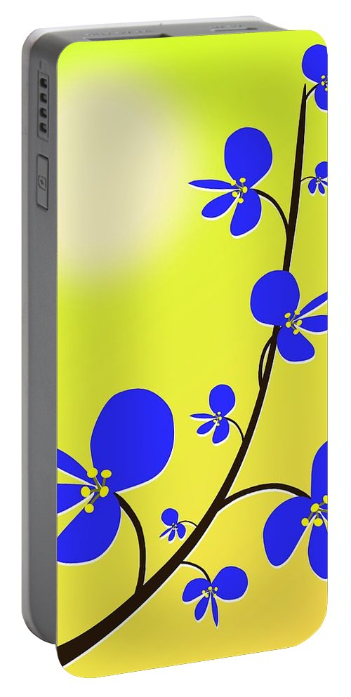 Nature Portable Battery Charger featuring the digital art Blue Flowers by Anastasiya Malakhova
