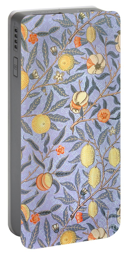 William Morris Portable Battery Charger featuring the drawing Blue Fruit by William Morris