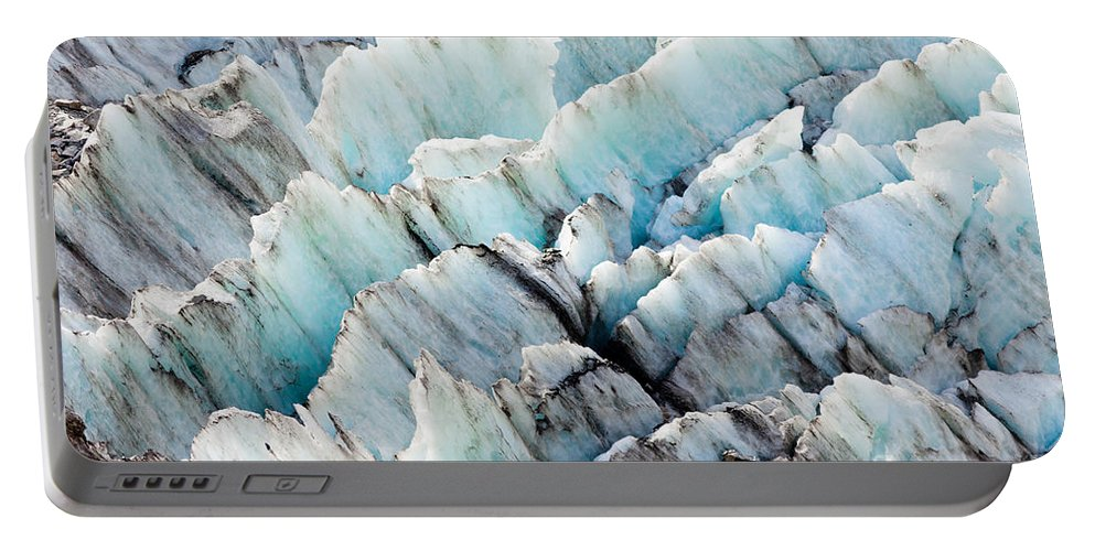 Abstract Portable Battery Charger featuring the photograph Blue Glacier Ice Background Texture Pattern by Stephan Pietzko
