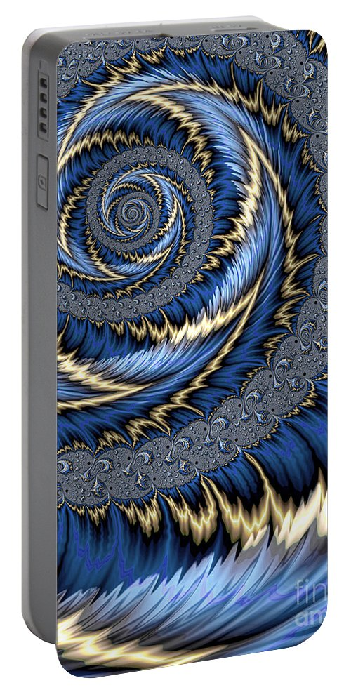 Blue Gold Leaves Abstract Portable Battery Charger featuring the digital art Blue Gold Spiral Abstract by John Edwards