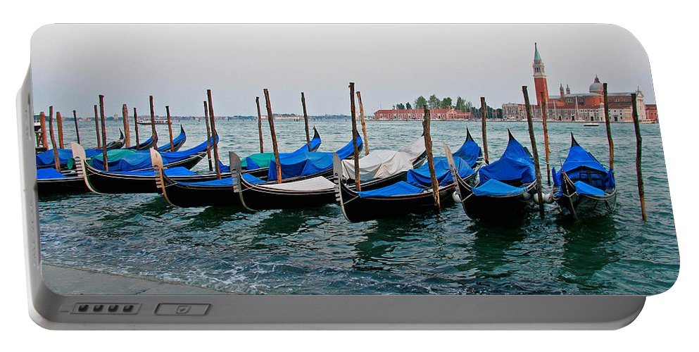 Gondolas Portable Battery Charger featuring the photograph Blue Gondolas by Peter Tellone